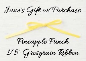 host gift, gift with purchase, terri george, stampin up, pineapple punch ribbon