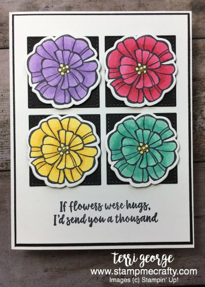 Freshly Made Sketches 348, Terri George, StampMeCrafty, Stampin' Up!, Falling Flowers, Blends Markers, Coloring