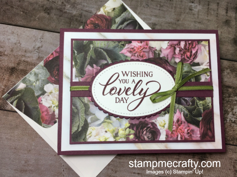 forever lovely stamp set, stampmecrafty.com, stamp me crafty, stampin' up!, stamping up, pals blog hop, pedal promenade dsp, fresh fig card stock, old olive ribbon