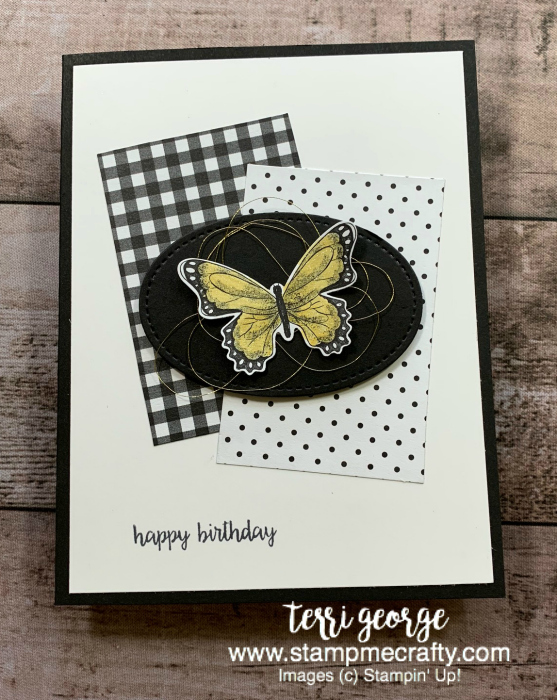 botanical butterfly designers series paper, sale-a-bration, stampin' up!, stampmecrafty.com, simple cards, wink of stella, butterfly duet punch, earn free product