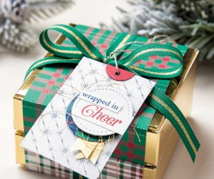 Shaded Spruce/Gold Ribbon, Wrapped in Plaid, Christmas