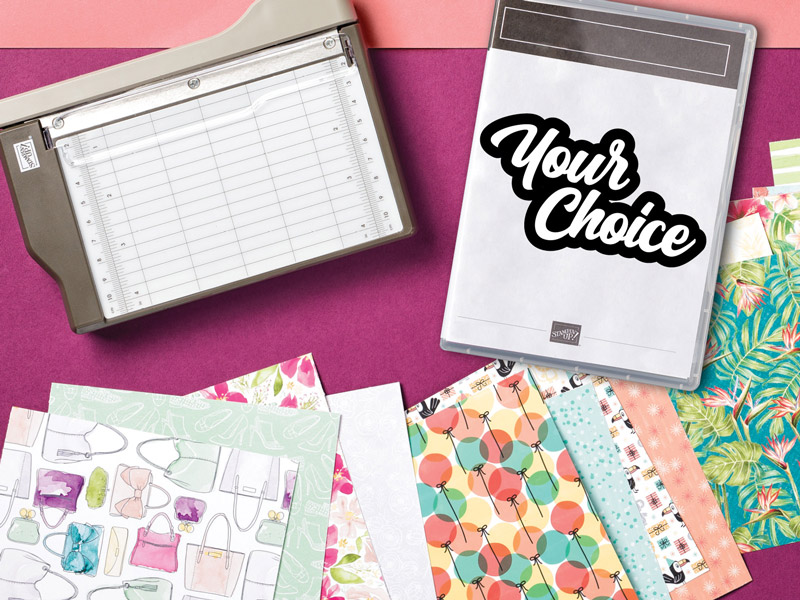 Join during Sale-a-Bration and receive more!, Mini Paper Trimmer, Designer Series Paper Sampler, FREE stamp set of your choice, Stampin' Up!, Stamp Me Crafty, Terri George