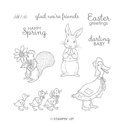Fable Friends Stamp Set #148670, Stampin' Up!, Stamp Me Crafty, Terri George, Handmade Cards, Class of the Month Club, Springtime, Spring Cards, Easter, Easter Cards, Baby Cards, Bunnies, Ducks, Squirrels