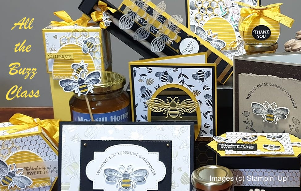 Honey Bee by Stampin' Up!, All the Buzz Sampler, Stamp Me Crafty, Bee, Handmade Cards, 3d Bee Projects