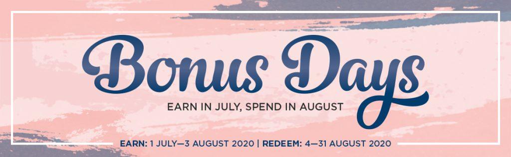 bonus days, stampin' up! earn coupons,